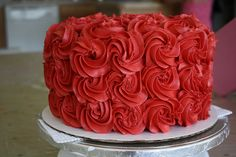 Red Rosette Cake - this but one tier