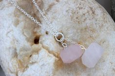 Spiritual Growth Rose Quartz NecklaceRow Baby by rainbowearring, $33.00