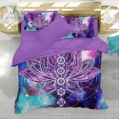Boho galaxy bedding, Lotus galaxy duvet cover set, Yoga bedding, Chakr - ARTBEDDING