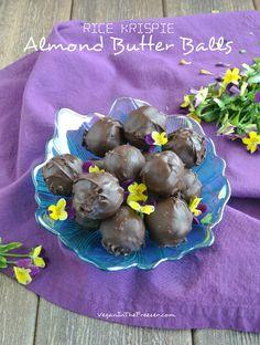 Rice Krispie Almond Butter Balls Recipe - Vegan in Freezer Gluten Free Desserts, Vegan Desserts, Vegan Recipes, Rice Krispie Treats, Rice Krispies, Candy Recipes, Sweet Recipes, Cereal Recipes, Dessert Recipes