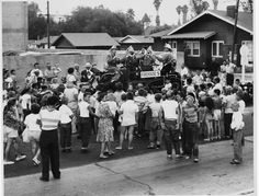 The Firehouse Five Band entertains the crowd at the opening of the Southern Pacific Station in North Hollywood, July 30, 1949. San Fernando Valley History Digital Library.