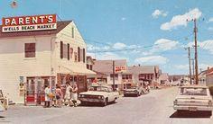 Well's Beach Market Atlantic Avenue Wells Beach Maine Vintage Business District View Postcard Retro Cars on Street