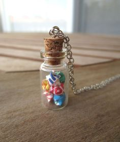 lucky origami stars glass vial necklace