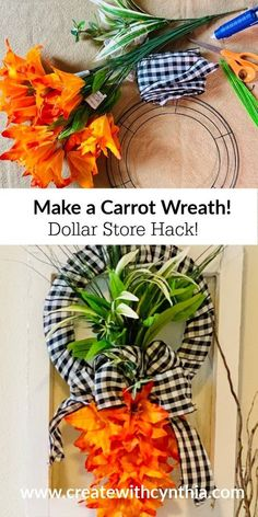 Hi there, Sweet Friends, I'm Cynthia from Create With Cynthia and welcome to my blog where I love to share DIY Home Decor projects and Furniture Makeovers all with a seasonal flair. Are you looking for a Bright and Spring-y Wreath for your Home. Stay tuned as I show you how to take Dollar Store items and florals and create a Carrot Wreath! I chose to make a Carrot Wreath to go along with all the other carrots I've been making this Spring. Have you seen my Vintage Clothespin Car… Diy Spring Wreath, Diy Wreath, Spring Crafts, Wreath Making, Dollar Store Hacks, Dollar Store Crafts, Dollar Stores, Diy Projects On A Budget, Diy Home Decor Projects
