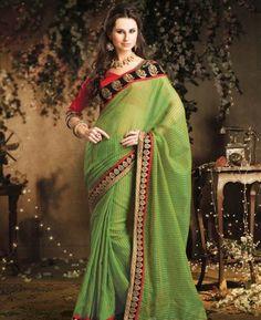 Tranquil Aloe Vera Green Casual Saree [ADF28410] $29.88 - Buy fashion wear online, Buy Indian wear Online by A1designerwear.com