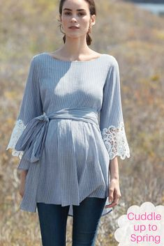 Love this pretty Lace Bell Sleeve Maternity Blouse #ad #maternity