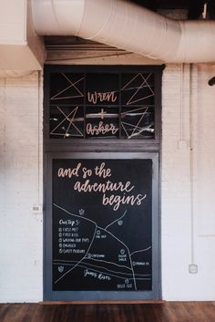 Moody Industrial Chic Wedding Inspiration - United With Love | Alex C Tenser Photography | Wedding Day Signs | Our Love Story Wedding Day Sign | Chalkboard Wedding Ideas