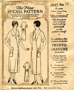 Unsung Sewing Patterns: McCall 3845 - Ladies' Beauty Shop Apron (aka Hoover apron)