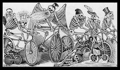 Items similar to Goth agf Punk Back Sew on Patch-es Mature Posada Death Newspaper Boys Bicycle Day of Dead Skull Skeleton La Calavera Giclée Art FREE S/h MBG on Etsy Day Of Dead, Mexican Skeleton, Skeleton Art, Tatoo Bike, Arte Obscura, Illustration, Bike Art, Mexican Art, Mexican Style
