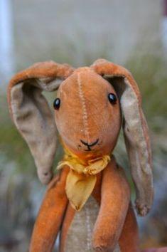 Orange velvet Wilfred rabbit by Farnell, Antique Toys, Vintage Antiques, Little Presents, Vintage Velvet, Vintage Soft, Vintage Ideas, Vintage Easter, Soft Sculpture, Old Toys