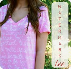 DIY very easy watermark tee with detailed tutorial using rit fabric dye and blue gel elmer's glue also kid craft friendly as well Cute Crafts, Crafts To Do, Crafts For Kids, Diy Crafts, Simple Crafts, Sewing Crafts, Do It Yourself Baby, Do It Yourself Fashion, Diy Projects To Try