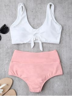 0e73a3822d Front Knotted swim tops and high waisted, ruched back bikini bottoms. This bathing  suit features contrast color, two tone, colorblocking.