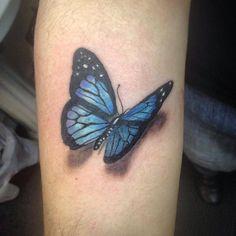 Blue Butterfly Tattoo on Inner Arm Butterfly Tattoo Cover Up, Butterfly Tattoo Meaning, Butterfly Tattoo On Shoulder, Butterfly Tattoos For Women, Butterfly Tattoo Designs, Shoulder Tattoo, Tribal Tattoos, Leg Tattoos, Small Tattoos