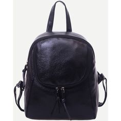 SheIn(sheinside) Black Pebbled Faux Leather Dome Backpack ($15) ❤ liked on Polyvore featuring bags, backpacks, black, day pack backpack, vegan leather backpack, knapsack bag, dome bag and backpack bags
