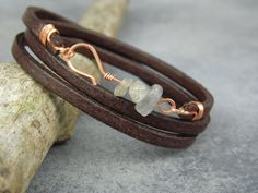 ~Available for wholesale~  This bracelet was made with high quality flat leather cord (4mm wide and 2mm thick). It is finished with copper wire and