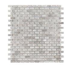 Jeffrey Court Stormy Knight Grey 12 in. x 12 in. x 10 mm Interlocking Glossy Stone Mosaic - The Home Depot Grey Mosaic Tiles, Stone Mosaic Tile, Marble Mosaic, Mosaic Glass, Marble Floor, Splashback Tiles, Kitchen Backsplash, Limestone Wall, Sanded Grout