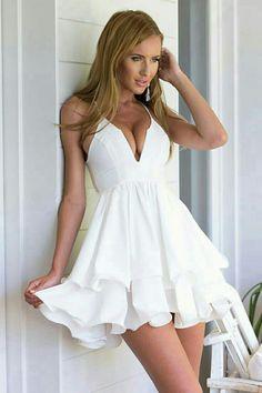 Kearia Womens Sexy Deep V Neck Spaghetti Strap Pleated Ruffle Short Skater  Mini Dress White XLarge a98b67252
