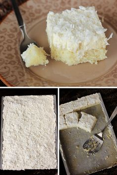 Easy Coconut Sheet Cake with Whipped Coconut Icing: So quick and easy and soooo good! In the oven in 10 minutes flat.