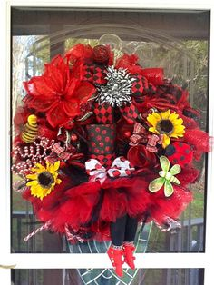 Whimsical LadyBug Lady Deco Mesh Wreath by WreathsEtc on Etsy