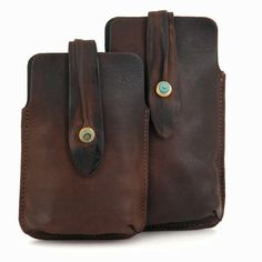 Brown Leather Phone Case with Small Turquoise button by RuthKraus, $32.00