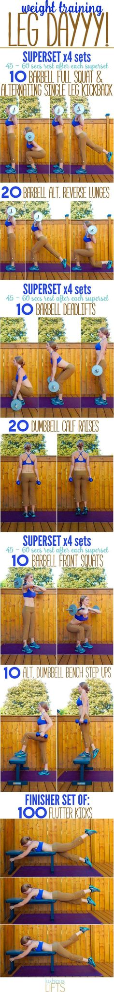 Leg supersets with a barbell. (This blogger has a variety of good workout posts with GIFs of the exercises.) | Posted By: AdvancedWeightLossTips.com
