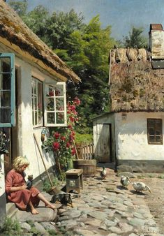 Huge Oil painting Peder Mørk Mønsted - Yard with Ducks little girl & dog canvas Painting Lessons, Painting & Drawing, Artist Painting, Art Watercolor, Girl And Dog, Beautiful Paintings, Country Life, Art Oil, Oeuvre D'art