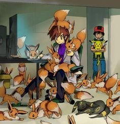 If I lived in a pokemon world....this would be me. XD This is me right now, frankly. Too. Many. Eevees.
