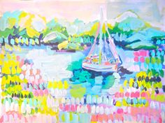 """""""Sailing in the Harbor,"""" Evelyn Henson art"""
