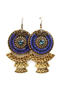 Sapphire Boho Statement Earrings on Emma Stine Limited