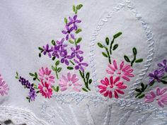 Vintage Pink & Purple Flower Basket Hand Embroidered Pillowcase Pair Crochet Edging
