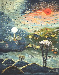 """""""Creation of the World, Part 2"""", 1984,  wool tapestry, 1.15m x 1.45m, Ramses Wissa Wassef Art Centre, Giza, Egypt"""