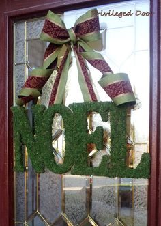 Christmas Wreath.  Holiday Wreath.  Xmas Wreath.  Moss NOEL with ANY BOW.  Deck the Halls in Chic Style.. $79.00, via Etsy.