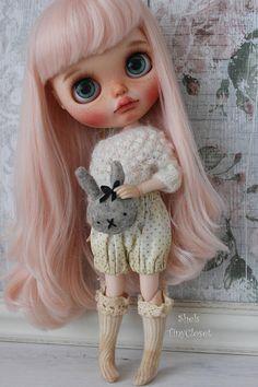 Teddy & Bunny Head Cushions Marl Brown Handmade 100%