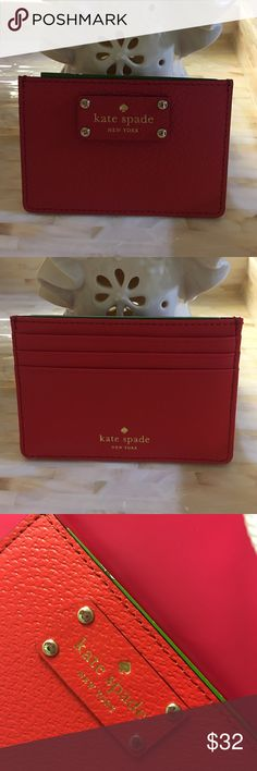 🎄🎁Great Christmas Gift 🎁 🎄Graham card case Kate spade business card holder, card case Wellesley Graham card case ,cherry red color . Bags Wallets
