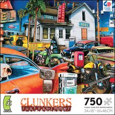 Clunkers Absolute Americana II 750 Piece Puzzle: The perfect pastime for anyone who loves classic cars. Artwork by Rusty Shimmers.  http://www.calendars.com/Classic-Car/Clunkers-Absolute-Americana-II-750-Piece-Puzzle/prod201400000424/?categoryId=cat00689=cat00689