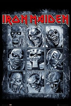 """An awesome Iron Maiden band poster - nine shots of """"Eddie"""" from the band's classic album covers! Check out the rest of our great selection of Iron Maiden posters! Need Poster Mounts. Pop Rock, Rock And Roll, Heavy Metal Bands, Heavy Metal Rock, Heavy Metal Music, Black Metal, Rock Posters, Band Posters, Concert Posters"""