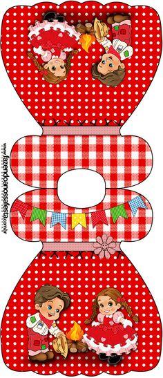 Convite Vestido Kit Festa Junina Vermelho e Branco