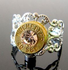 Swarovski Silk 40 Smith and Wesson Bullet Ring by MySmallEscape, $17.50