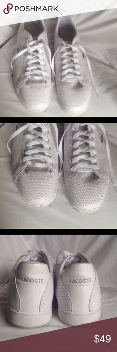 Men's Lacoste sneakers size 16 Awesome condition, very clean well cared for Lacoste sneakers. No tears or stains a few dirt marks that will come of with a wet wipe. Men's size 16 Lacoste Shoes Athletic Shoes