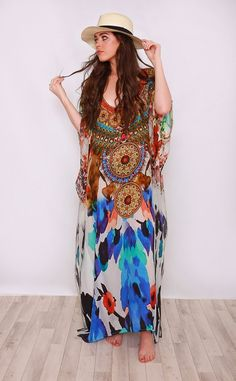 Jasmin Silk Printed Maxi Kaftan