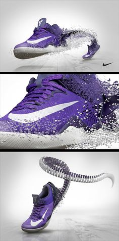 Nike Kobe 8 Concepts by Barton Damer, via Behance  I really like how the little squares are building the shoe.. but I think it'd be better for our theme if the cubes were on the other side to show the emergence of the shoe