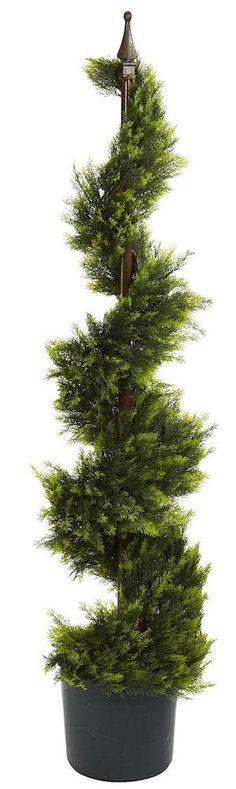 Cypress Silk Spiral Topiary Tree with Nursery Planter | 4 feet