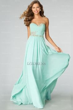 A-Line/Princess Strapless Sweetheart Chiffon Sweep/Brush Train Prom Dress - IZIDRESSES.com at IZIDRESSES.com