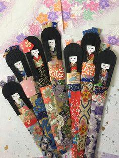 Washi Dolls, Set of 7, Japanese origami kimono paper doll geisha , Handmade ningyo shiori bookmark doll for everyday gift for her