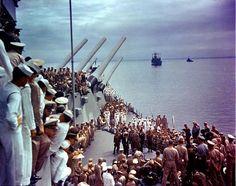 [Photo] Dutch Admiral Conrad E. L. Helfrich signed the Japanese surrender document, 2 Sep 1945; note MacArthur next to Helfrich | World War II Database