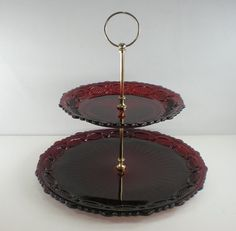 Avon Cape Cod Ruby Red Glass Tiered Tidbit Server Plate.  My grandmother had most of the Avon Cape Cod Ruby Red set of dinner plates, salad plates, cake cutter, and sherry glasses and I inherited them when she passed away.  I would love to find this to go along with the set.