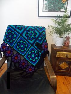Cathedral Flower crochet afghan in vibrant by RainbowBirdCrochet