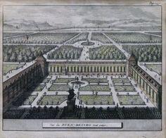 Kupferstich Frankreich, 17./18. Jh., coloriert, Parklandschaft mit Personen, 14x17 cm, im Rahmen — Grafiken