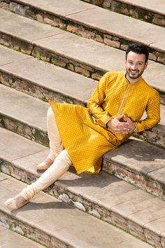 Buy Yellow Luxurious Kurta from our latest Durga Puja Collection. Select from a wide range of designer sherwanis, dhoti kurta, indo-western wear, kurtas & pathani online. Wedding Kurta For Men, Groom Wedding Dress, Groom Dress, Wedding Wear, Wedding Suits, Kurta Men, Sherwani Groom, Indian Groom, Groom Outfit
