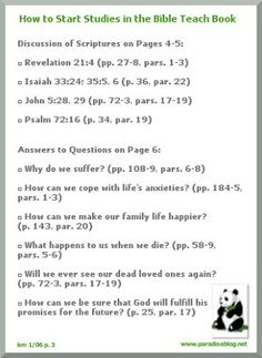 How to start studies in the Bible Teach Book
